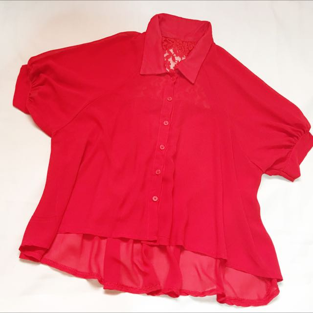 Red Chiffon Top with Sleeves