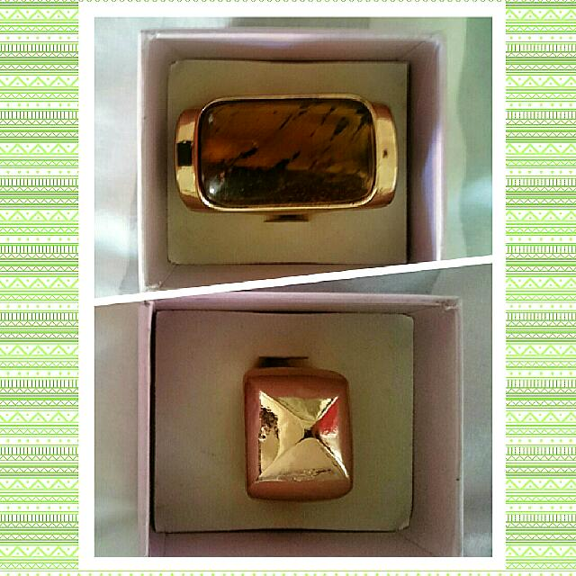 Stunning Tigers Eye Gold Plated Ring And Gold Plated Fashion Ring. Approximately Size M-N Both $12 GREAT Xmas GIFT 🎁