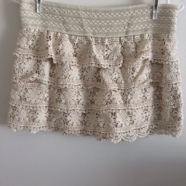 Super cute cream lace skort