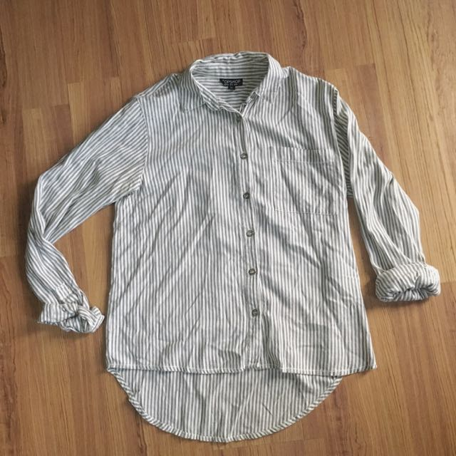 RESERVED:Topshop Gray And White Button Top