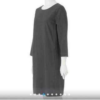 MUJI嫘縈混彈性八分袖洋裝黑色