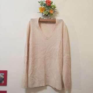 Uniqlo | 過季款米色羊毛V領衣