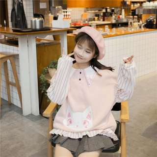 (PO) Cute Korean Style Cat Long Sleeve Top
