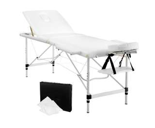 Portable Aluminium 3 Fold Massage Table Chair Bed White 60cm