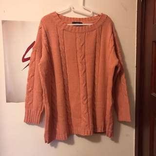 Queenshop 粉紅粗針織毛衣(保留)
