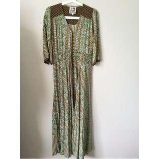 Green Patterned Maxi Dress