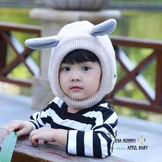 EVA EVA SHOP冬季新品-男女寶寶兒童兔耳朵內抓絨保暖針織帽