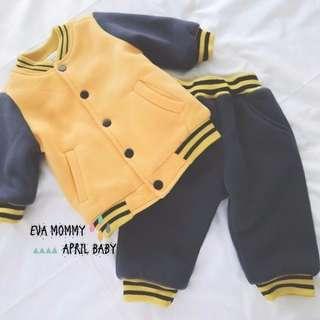 EVA EVA SHOP 冬季新品-兒童男女寶寶加絨加厚保暖黃色棒球上衣大pp褲運動套裝
