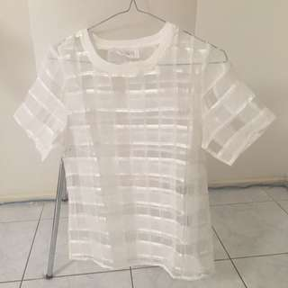 White Mesh TShirt (See Through) Size 6