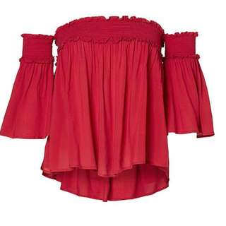 Danni Minogue Petite Off Your Shoulder Top (Red) Size 10p)