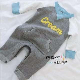 EVA EVA SHOP 冬季新品-兒童男女寶寶內刷毛不倒絨加厚保暖字母拼色長袖連身包屁衣