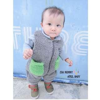 EVA EVA SHOP冬季新品-必!備!款!兒童男女寶寶羊羔毛加厚連身背心睡袋