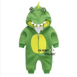 EVA EVA SHOP冬季新品-男女寶寶純棉長袖抓絨加厚鱷魚拉鍊連身造型裝