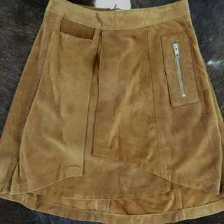 STRUMMER Suede Leather Skirt High Waisted Size 6. Stain At The Back, I Only Just noticed When I Took The Photo,  not as noticeable in real life