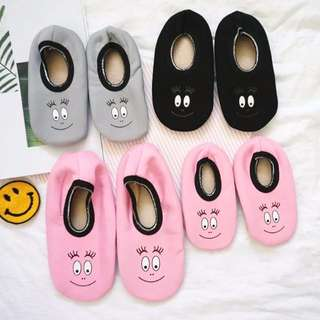 EVA EVA SHOP冬季新品-媽咪許願款:P韓國泡泡先生親子笑臉加絨地板襪寶寶防滑襪室內家居鞋