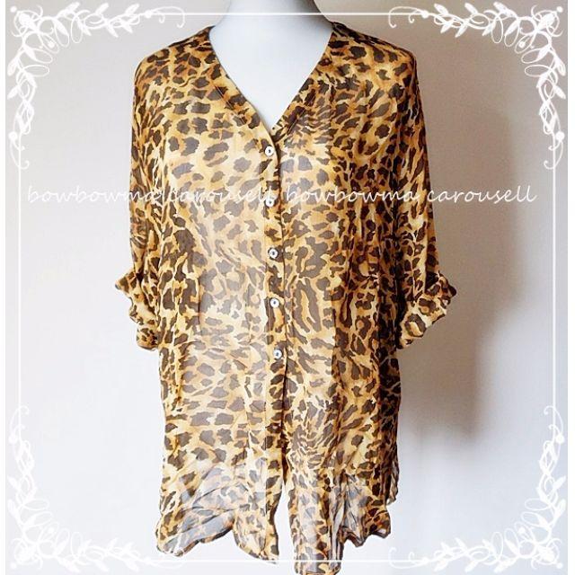 全新!Balla Valentina Leopard Silk Blouse Made in Italy US 14