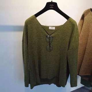 秋裝現貨🔸百搭V領簡約打底針織純色軍綠上衣