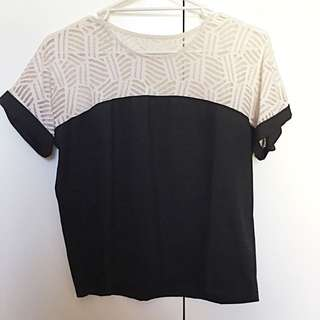 Black Short Sleeve Blouse With Lace Detailing