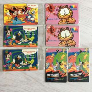 Vintage 90s Kodak Phonecard Phone Card Mickey Minnie Donald Garfield Energier