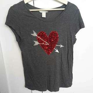 Grey Sequin Heart H&M T-Shirt