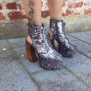Jeffrey Campbell Silver Sequined Platforms
