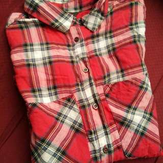 MANGO Red Plaid Cotton Top
