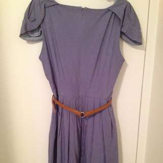 Blue Linen Dress With Cap Sleeves