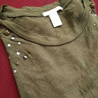 Forever 21 Army Green Studded Muscle Tee