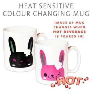 RABBIT BUNNY PINK WINK Colour Change Heat Sensitive Mug Cup Gift