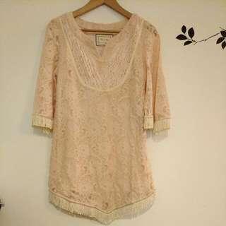 日本lagunacmoon流蘇洋裝 長版上衣 粉膚色 貝童彤同款