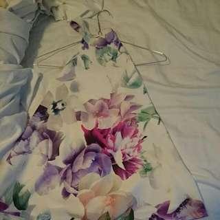 Low Back Floral Top, Size 8 AUS