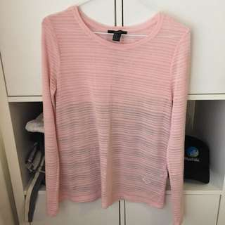 FOREVER 21 ❤ Ribbed Pink Top