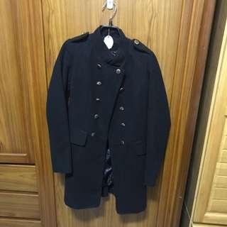 九成新長版軍裝式外套(黑,M)