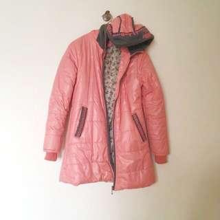 粉橘紅輕暖長外套