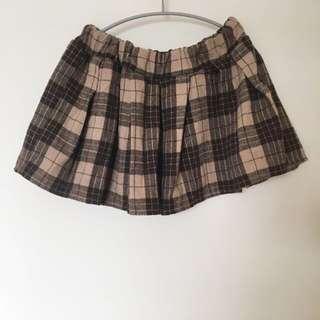 學院咖啡格子褲裙