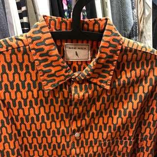 變形橘格襯衫(九分袖)