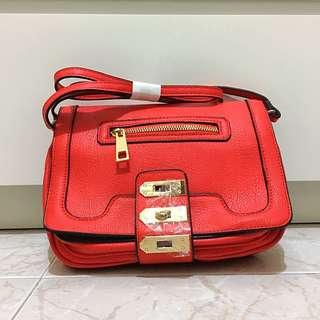 Brand New ASOS Women Ladies Trio Lock Red Crossbody Bag Sling Bag