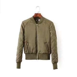 「新品推薦」歐美時尚百搭菱紋加厚棉飛行夾克外套