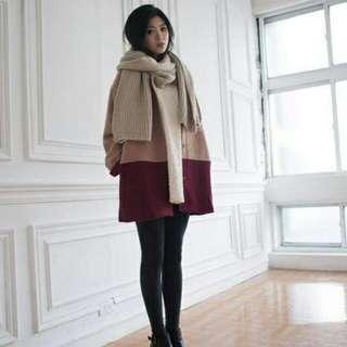 STARMIMI 配色無領混羊毛呢料外套。駝色