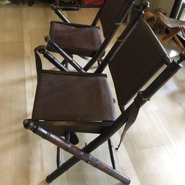 Charmant 2 Antique Indian Directors Chairs (wood/leather), Furniture, Tables U0026 Chairs  On Carousell