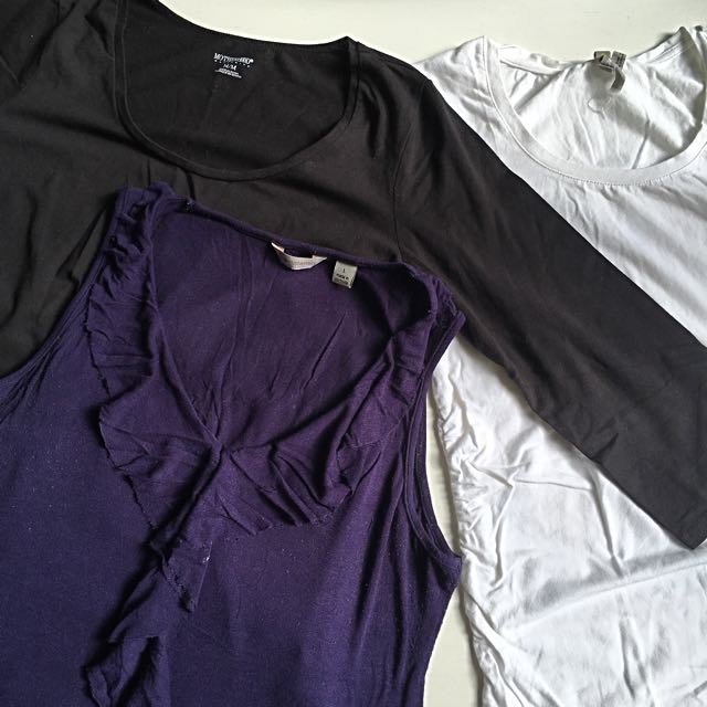 3 x Maternity Tops - White Tshirt, Black Long Sleeve Top, Navy Ruffle Singlet