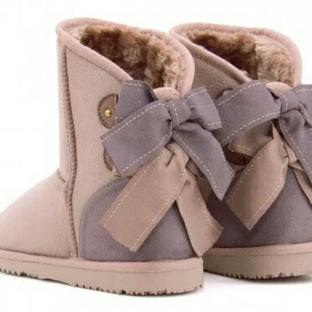 日系蝴蝶結拼色厚絨雪靴