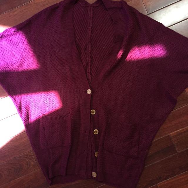 酒紅針織外套