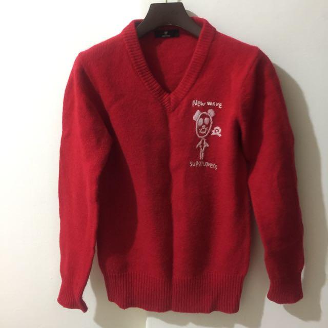 正紅色學院風毛衣