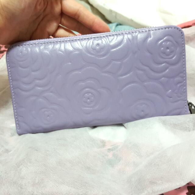 紫色玫瑰皮夾(保證真皮)