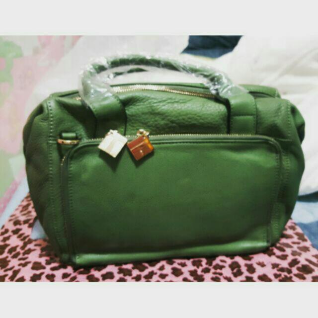 綠色手提側背包(保證真皮)
