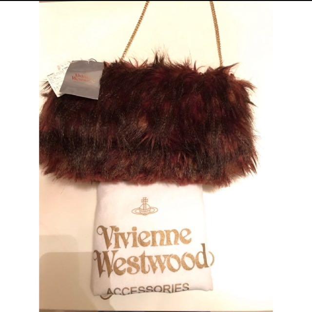 全新真品 永三進口 Vivienne Westwood 毛毛包 酒紅色 手提包 肩背包