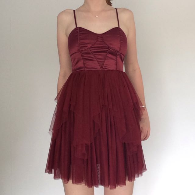 Angel Biba Maroon Red Dress