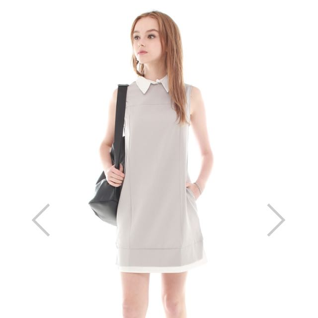 Anticlockwise Faux Preppy Layered Shift Dress In Dusty Gey