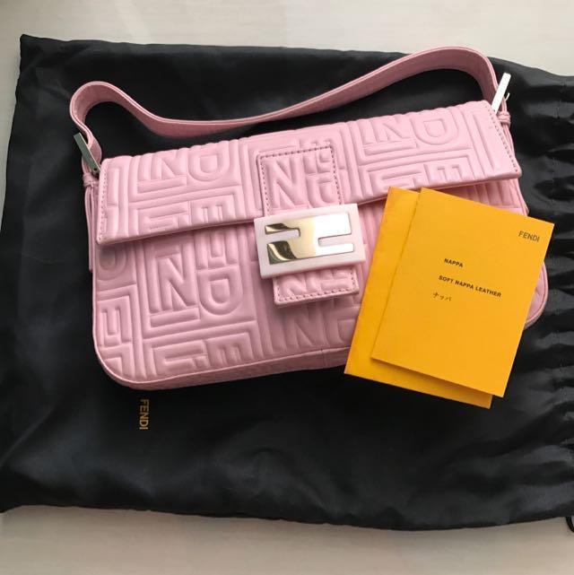 57a5c0b07fe3 Authentic Pink Soft Nappa Leather Fendi Clutch Bag Baguette